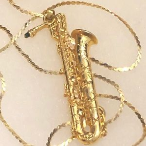 Gold Tone Saxophone Necklace